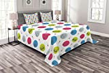 Lunarable 90s Bedspread Set Queen Size, Music Player Silhouette Stereo Rock Boombox Mic Sound Technology, Decorative Quilted 3 Piece Coverlet Set with 2 Pillow Shams, Blue Grey Apple Green Hot Pink