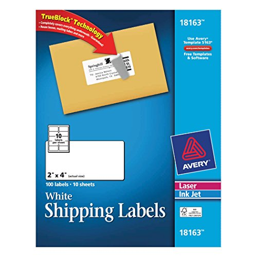 Avery Shipping Labels for Laser and Inkjet Printers, White,