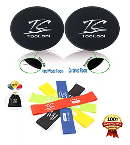 Dopobo Beachbody 5 Resistance Bands and Double-Sided Gliding Discs for Intense Low-Impact Exercises Double-Sided Sliding Discs Resistance Bands for Intense Low-Impact Exercises to Strengthen Core Glutes Abs Fitness DP 8260
