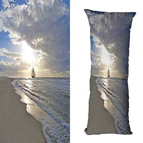 (DuckBaby Living Room Sofa Hug Pillowcase Nautical A Sailing Ship Close to Sandy Beach in Moody Sunset Paradise Tropical Theme Machine Washable W19.5 xL63 Blue Beige White)