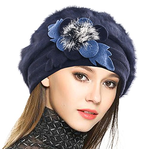 VECRY Women's 100% Wool Bucket Hat Felt Cloche Bow Dress Winter Hats (Angora-Navy)