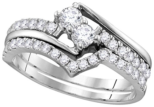 10k White Gold Diamond 2 stone Bridal Wedding Engagement Ring Band Set (1/2 Cttw)
