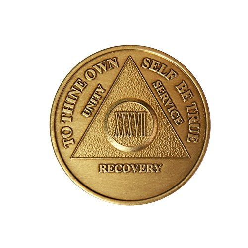 37 Year Bronze AA (Alcoholics Anonymous) - Sober / Sobriety / Birthday / Anniversary / Recovery / Medallion / Coin / Chip