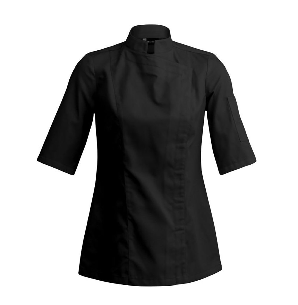 SIENNE Short Sleeve Womens Culinary Chef Jacket with Square Mandarin Collar by Clement Design (L - 34/36 - T2, Black) by Clement Design USA