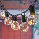25FT LED Outdoor Patio String Lights with 25 Clear Globe G40 Bulbs, UL Certified for Patio Porch Backyard Deck Bistro Gazebos Pergolas Balcony Wedding Gathering Parties Markets Decor, Black