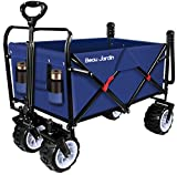 Folding Push Wagon Cart 300 Pound Capacity Collapsible Utility Camping Grocery Canvas Fabric Sturdy Portable Rolling Lightweight Buggies Outdoor Garden Sport Picnic Heavy Duty Shopping Wide Wheel