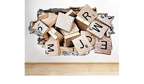 tekkdesigns C918 Scrabble Juego Alfabeto Vida Smashed Adhesivo Pared 3D Arte Pegatinas Vinilo habitación: Amazon.es: Hogar