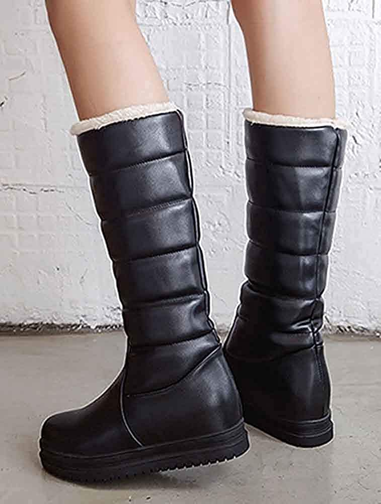 Womens Platform Under The Knee High Snow Boots Pull On Round Toe Fleeced Winter Tall Boots Warm Elevator Mid Heel