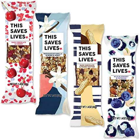 Gluten Free Healthy Granola Snack Bar, 8 Bar Variety Pack (2 Each of 4 Flavors), 1.4 oz; Breakfast Bars by This Saves Lives