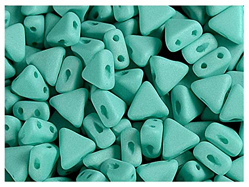 50pcs Kheops Par Puca Beads - Czech Pressed Glass Beads of Triangular Shape, with Two Holes, 6 mm, Opaque Green Turquoise Silk mat