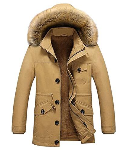 today-UK Men's Hooded Faux Fur Lined Warm Coats Outwear Winter Jackets Khaki