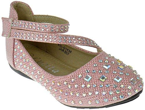 3835d8658b49 KD 01KM Little Girls Rhinestone Ballet Ballerina Flats Pink Glitter 2