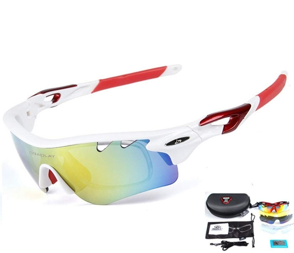 Baselay Polarized Sports Sunglasses with 5 Interchangeable Lenes UV400 Sun Glasses for Men Women Youth Cycling Running Driving Fishing Golf Baseball TAC Goggles (White/Red)