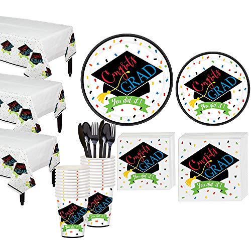 Party City You Did It Grad Grand Tableware Kit for 50 Guests, Includes Plates, Napkins, Cups, Utensils, and Table Covers