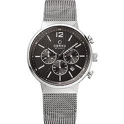 Obaku Watches Mens Chronograph Stainless Steel Mesh Watch