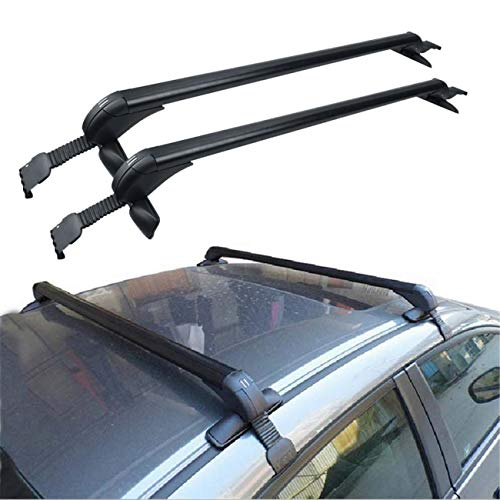ALAVENTE Universal Roof Rack Cross Bar Set for Most Vehicle Without Roof Side Rail Black (Pack of 2) - Rack Roof Foot Mount Gutter