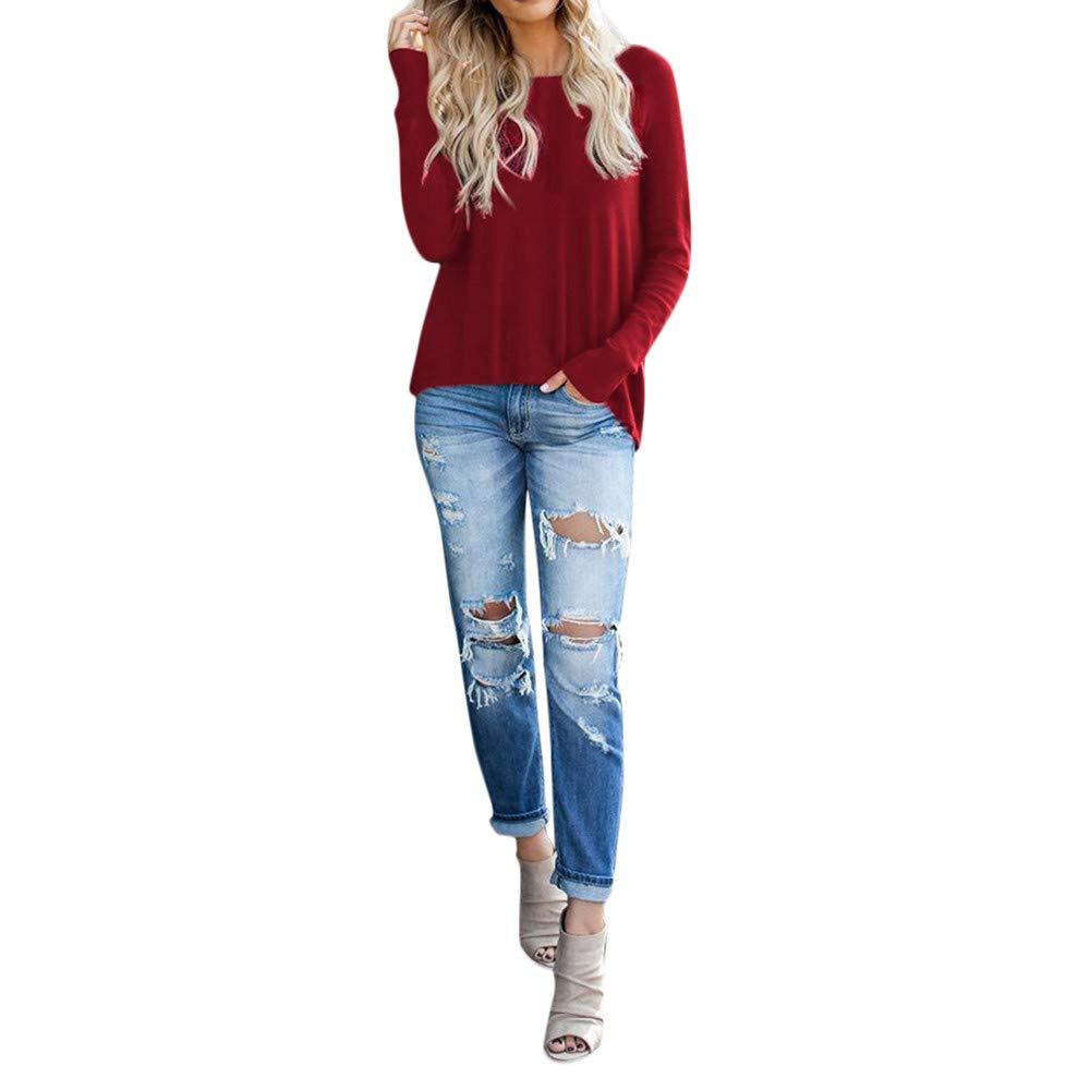 tohole Damen Herbst und Winter Langarm Frauen T-Shirt mit Reiß verschluss Top schlankes Langarmshirt Neuer Mode Frauen Langarm Bluse Pullover Sweatshirt Tops Elegant bequem