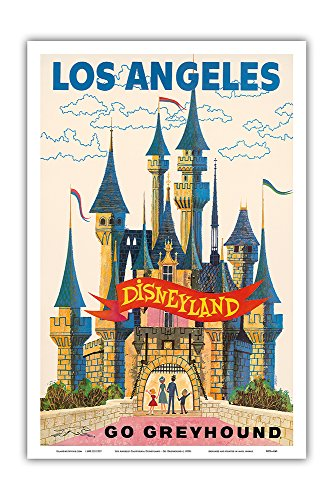 Los Angeles California - Disneyland - Go Greyhound - Vintage Advertising Poster c.1950s - Master Art Print - 12in x 18in