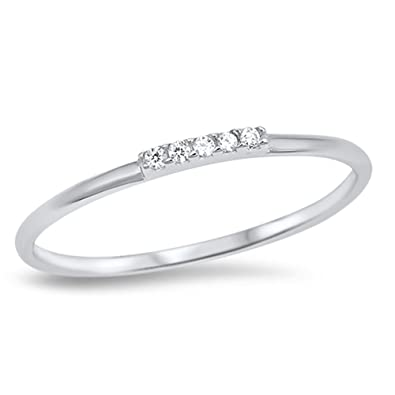 Amazoncom Thin Clear CZ Wedding Ring New 925 Sterling Silver