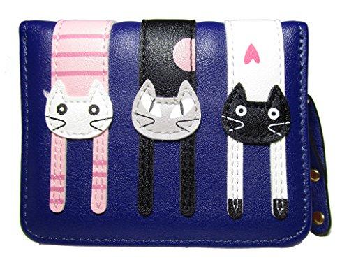 Nawoshow Women Cute Cat Wallet Coin Purse Bifold Wallet Clutch Bag (Dark Blue) (Coin Purse Superhero)
