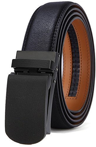 BULLIANT Men Belt, Leather Ratchet Belt Black for Men with Exact-Fit CLICK Buckle in Gift Box, Big&Tall - Leather Black Small