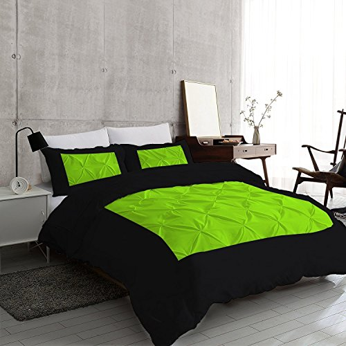 Discount Kanak Bedding Ultra Soft 3-Piece Two Shaded Pinch Pleated Duvet Cover Set with Beautiful Two Shaded Pinch Diamond Design Egyptian Cotton Comforter Cover 800TC Solid (Twin/Twin XL, Black,Parrot Green) free shipping