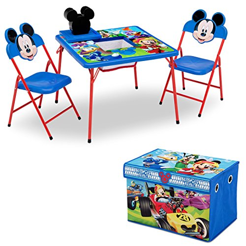 (Delta Children 4-Piece Kids Furniture Set (2 Chairs and Table Set & Fabric Toy Box), Disney Mickey Mouse)