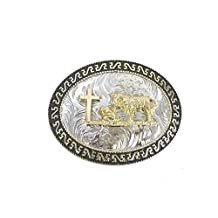 Western Belt Buckle Oval Praying Cowboy Cross Gold Sterling Silver Plated Mens