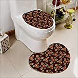 L-QN 2 Piece Bathroom Toilet Mat Floral Arabesque Islamic Pattern in Vibrant Colors Artsy Image Gold Chestnut Brown Non Slip Comfortable SND Soft