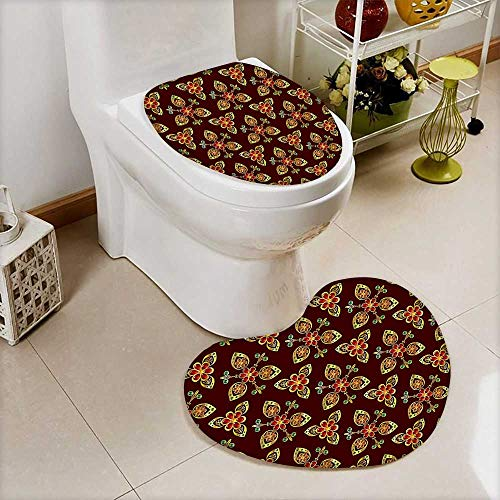L-QN Lid Toilet Cover Floral Arabesque Islamic Pattern in Vibrant Colors Artsy Image Gold Chestnut Brown Cushion Non-Slip by L-QN