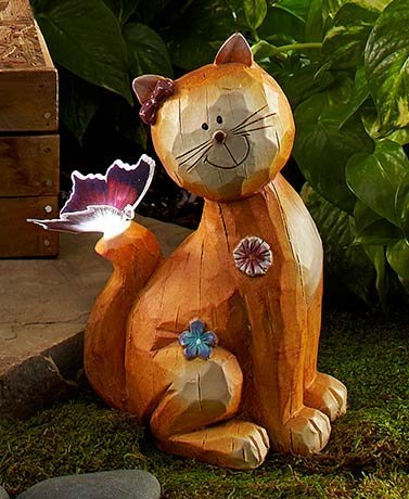 Fiber Optic Solar Garden Cat Cat lover garden led light just beautiful at night