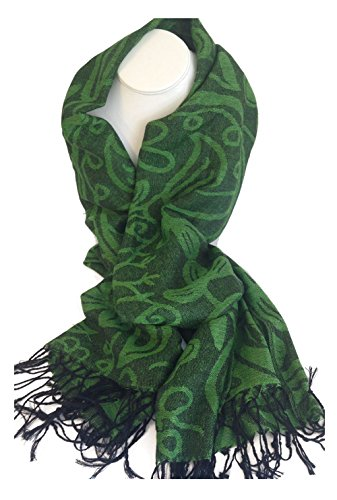 Irish Shamrock Green/Black Pashmina Scarf #148