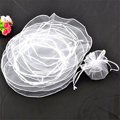 100pcs Blanc Forme ronde Dirige Cordon de serrage Pochettes en organza pour bijoux fête de mariage de Noël Sacs de cadeaux à dragées 25cm de diamètre