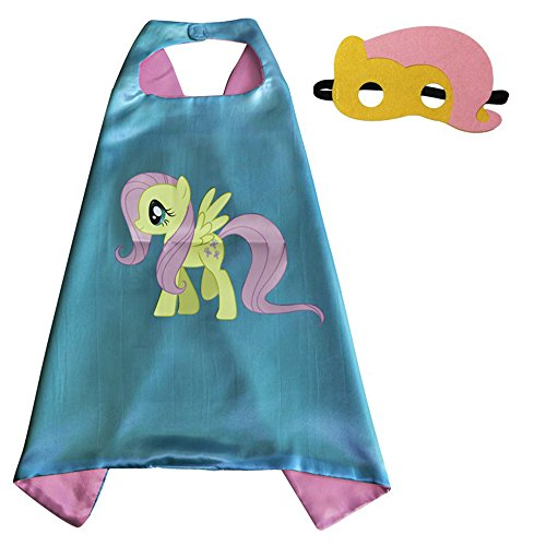 Whoopgifts Fluttershy Costume Superhero Capes with Masks for Kids, Girls My Little Pony Birthday Party Favors, Dress up & More