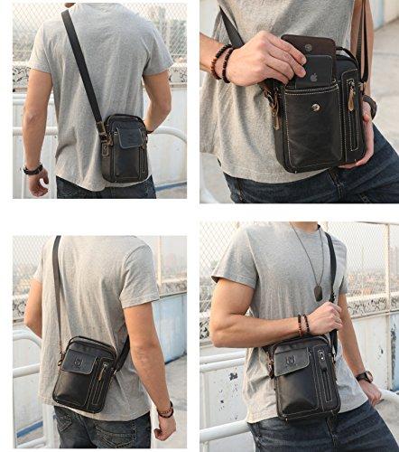 Genuine Leather Men Bags Small Shoulder Crossbody Bag for Men Everyday Casual Travel Messenger Bag Handbag (black) by BULLCAPTAIN (Image #5)
