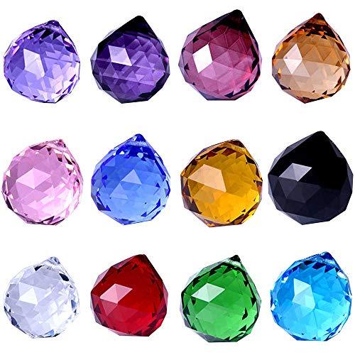 Wispun 30mm Vintage Feng Shui Faceted Decorating Crystal Ball Prism Pendant Suncatcher Multi-Color Hanging Pendant Suncatcher -