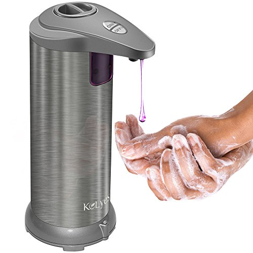 Soap Dispenser, Kolyes Touchless Motion Sensor Automatic Soap Dispenser; 4 Levels Adjustable/ Stainless Steel/ Battery Operated/ Hand-Free Soap Dispensers for Kitchen, Bathroom (Upgraded) by Kolyes