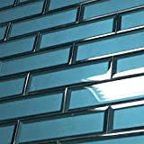 2.5 x 8 Temptation Teal Glass Tile 3D Backsplash Wall Bath (10 PACK)