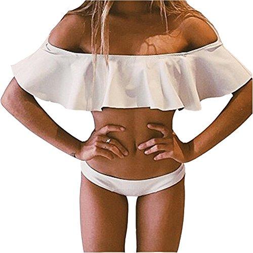 Women's Solid Color Off Shoulder Strapless Flounce Bikini Sets (M, White)