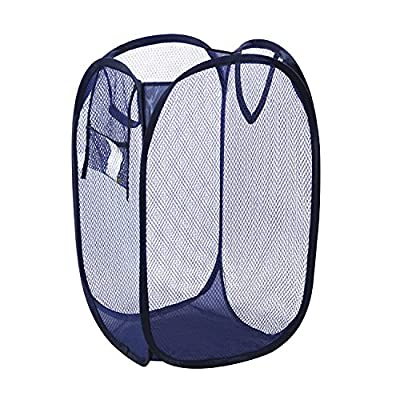 Pop-Up Foldable Laundry Hamper Basket (Navy Blue) - GREAT FOR HOME OR TRAVEL: Use as a pop-up laundry hamper, toy basket or fold it flat for easy packing when on the go. STURDY MESH CONSTRUCTION: Durable mesh material allows air to circulate in order to eliminate moisture and odors. STORES FLAT: Twist the flexible lightweight frame on this pop up hamper to fold it flat for convenient storage. - laundry-room, hampers-baskets, entryway-laundry-room - 51HdChRiG5L. SS400  -
