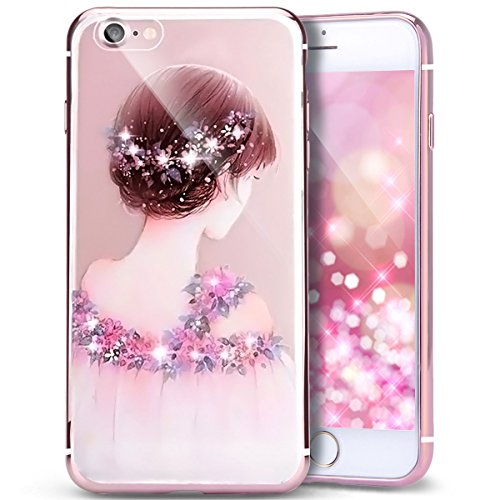 PHEZEN iPhone 6S Plus Case,iPhone 6 Plus Case, iPhone 6S Plus TPU Case Luxury Bling Diamond Crystal Clear Soft TPU Silicone Back Cover with Cute Pattern for 5.5 inch iPhone 6/6S Plus, Flower Girl - Tpu Diamond Pattern