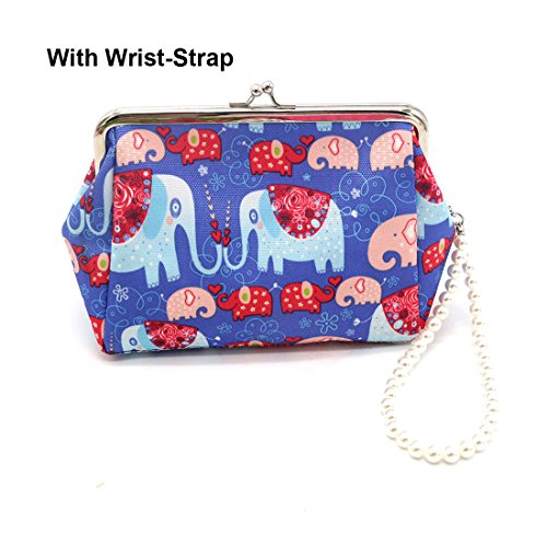 (Micom Cute Elephant Clasp Coin Purses Cosmetic Bag with Faux Pearls Wrist-strap (Blue)