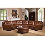 Sofaweb.com Inc. Meadows Brown Curved Top Grain Leather Sectional Sofa and Ottoman