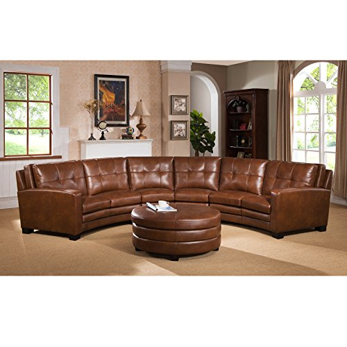 Curved Sectional Sofa (Sofaweb.com Inc. Meadows Brown Curved Top Grain Leather Sectional Sofa and Ottoman)