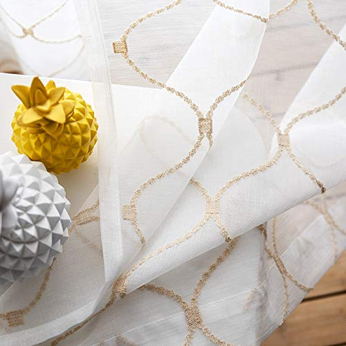Embroidered Wave Diamond Sheer Curtains Gold 63 Inch Length, Rod Pocket Voile Drapes for Living room, Bedroom, Window Treatments Semi Curtain Panels for Yard, Patio, Villa, Parlor, Set of 2, 52