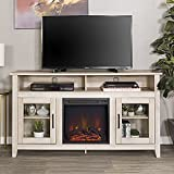 New 58 Inch Wide Highboy Fireplace Television Stand in White Oak Finish
