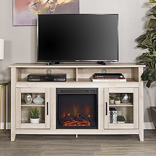 New 58 Inch Wide Highboy Fireplace Television Stand in White Oak Finish by Home Accent Furnishings