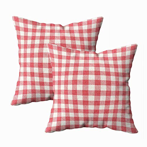 Musesh Pack of 2 Christmas Red White Textured Plaid Gingham Cushions Case Throw Pillow Cover for Sofa Home Decorative Pillowslip Gift Ideas Household Pillowcase Zippered Pillow Covers 16x16Inch