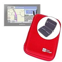 "Red 7"" Shock-Absorbing Hard EVA Shell Case for Garmin Nuvi 2789LMT / Garmin RV 760LMT / Garmin Dezl 770 LMT-D Satnav - With Internal Elasticated Velcro Strap & Netted Accessory Pocket - by DURAGADGET"