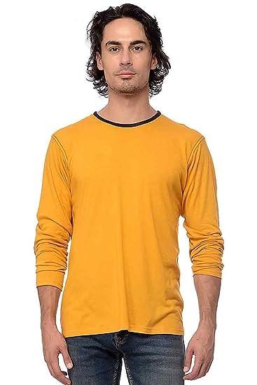 6fe6cf0f4 Yoloclan Men S Round Neck Mustard Yellow T Shirt Amazon In